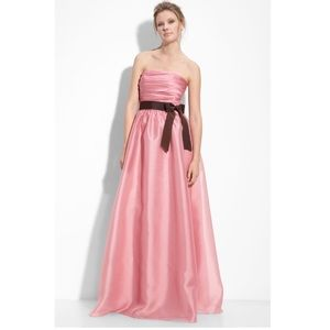 Monique Lhuillier Dresses & Skirts - Monique Lhuillier pink dress w/ brown sash