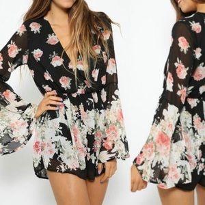 Choies Pants - Black Floral Print Romper Playsuit Bell Sleeved