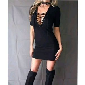 Designer Corset Style Lace Up Ribbed Stretch Dress