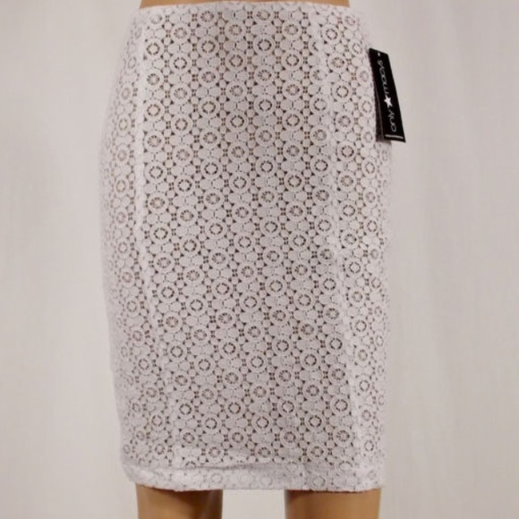 8111f5469 fashion star Skirts | White Lace Nude Lined Pencil Skirt | Poshmark