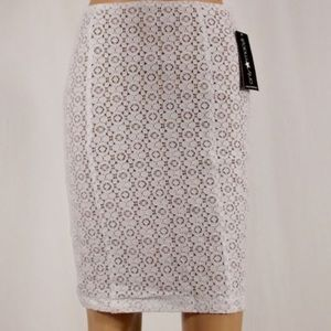 fashion star Dresses & Skirts - Fashion Star White Lace Nude Lined Pencil Skirt
