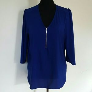 Express Tops - Express Royal Blue Pull Over Blouse Size Large