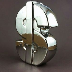 Accessories - Silver Shiny Dollar Sign Piggy Bank