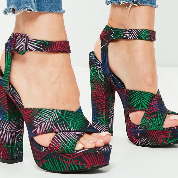 Missguided Shoes - MissGuided Printed PlatformHeeled Sandals