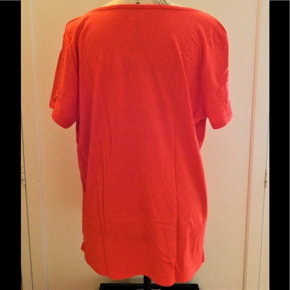 Basic Edition Tops - Basic Editions Orange Peasant Blouse Sz XL