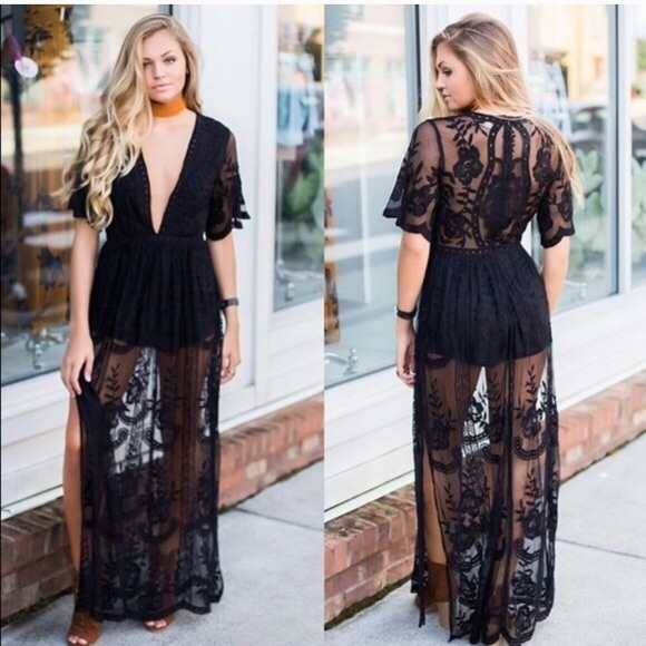 09e384468a2b Honey Punch Dresses   Skirts - Black Lace Maxi Romper