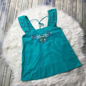 BCBGeneration Teal Embroidered Boho Blouse