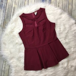 Wildcat Maroon Sleeveless Caged Cutout Peplum Top