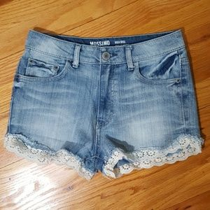 Mossimo Supply Co. Pants - Mission High Waisted Jean Shorts Crochet Trim