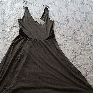 H&M Gray and black mini dress with lace back