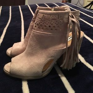 Not Rated Shoes - Not Tated Taupe Suede Fringe PeepToe Booties. 7.5