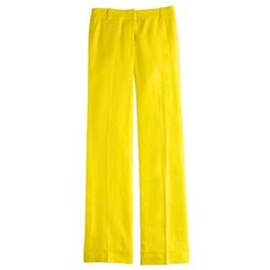 J. Crew Pants - JCrew citrus neon yellow linen cafe trouser pants