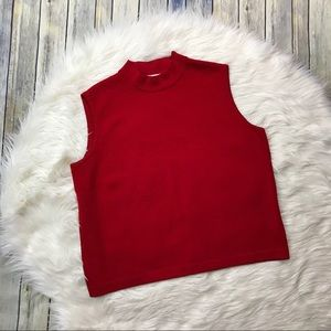 St. John Red Sleeveless Turtleneck Sweater