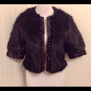 Fabulous Furs Jackets & Blazers - Fabulous Fur & Sequins Black Cropped Jacket