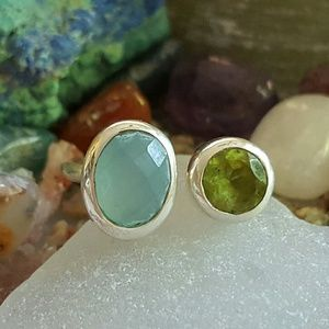 Earth Art hand crafted artisan  Jewelry - Colorful Genuine Stones Ring Sterling Silver
