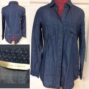 LC Lauren Conrad Tops - Lauren Conrad Blue White Polka Dot Button Up Shirt