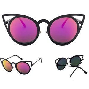 Accessories - Purple Cat Eye Mirror Sunglasses