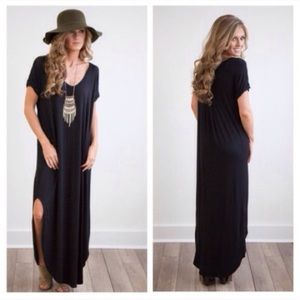 🌈RESTOCK🌈 Black Oversized Maxi Side Slit Dress