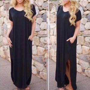 🔥RESTOCK🔥 Black Loose Boho Chic Tunic Maxi Dress