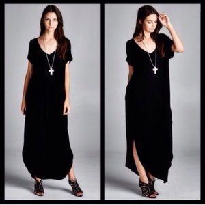 🖤S-XXL🖤 Loose Oversized Boho Maxi Dress Black