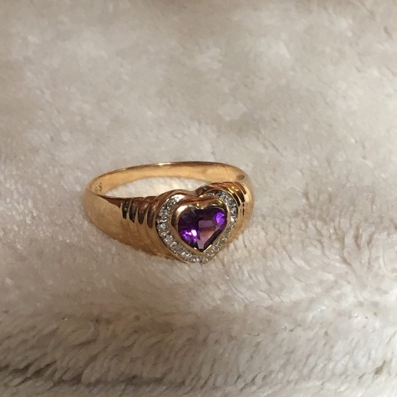 14k yellow gold purple amethyst diamond heart ring os from. Black Bedroom Furniture Sets. Home Design Ideas