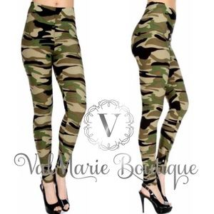 ValMarie Boutique Pants - CAMOUFLAGE BRUSHED KNIT LEGGINGS