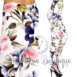 ValMarie Boutique Pants - SOFTEST FLORAL BRUSHED KNIT LEGGING