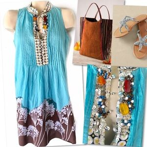 Ryu Dresses & Skirts - RYU BEADED PINTUCK PLEATED COTTON SHIFT DRESS SZ L