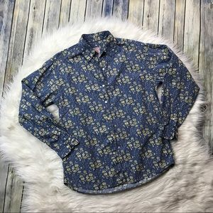 Brooks Brothers Blue Yellow Floral Button Up