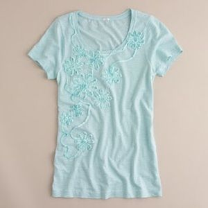 J. Crew Tops - J CREW Slub cotton swirling flowers tee
