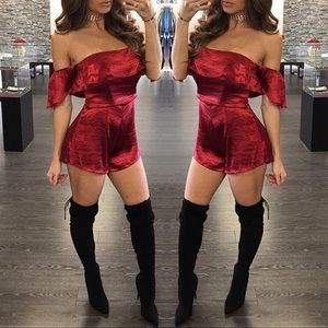 Pants - New red satin romper