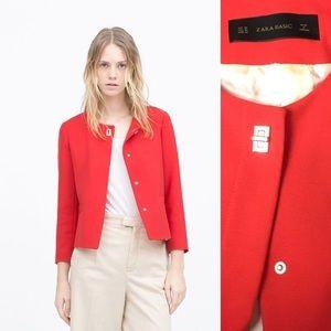 ZARA turn lock red classic blazer jacket XL