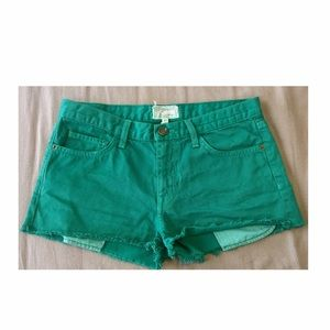"Current/Elliott Pants - Current/Elliot | ""boyfriend"" denim shorts in green"