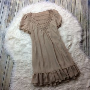 A'reve ModCloth Beige Ruffle Lace Dress