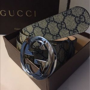 Gucci Other - Authentic Gucci Tan and Blue Monogram Belt