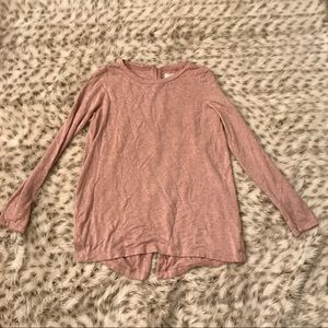 Lou & Grey Tops - Lou & Grey Heathered Pink Exposed Zipper Pullover