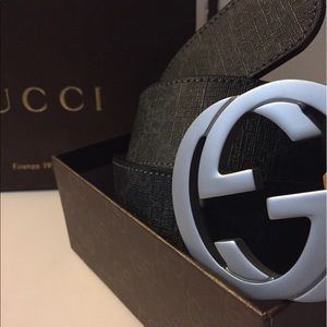 Gucci Other - Authentic Gucci Black/Grey Canvas Belt