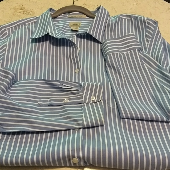 6fbd1beb62 L.L. Bean Tops - LL Bean Women s Blue White Striped Shirt - 2x