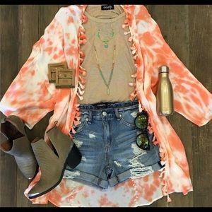 Etiquette Clothiers Tops - Orange Spring Kimono