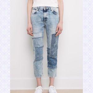 Pull&Bear Denim - Pull & Bear Patchwork Girlfriend Jeans