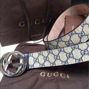 Gucci Other - Gucci Blue Monogram Belt