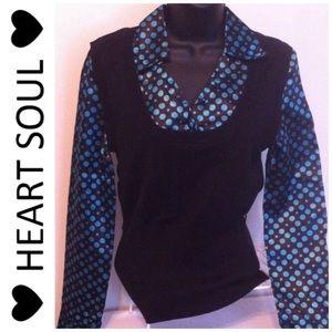 HeartSoul Tops - NWT❤️HeartSoul❤️teal/black/polka dot top/vest L jr