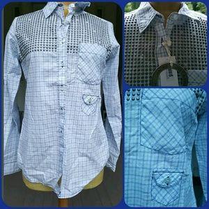 Jachs Tops - JACHS western Round Studded button down shirt
