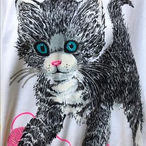 •Giant Kitten & Yarn Vtg Glitter Tee •