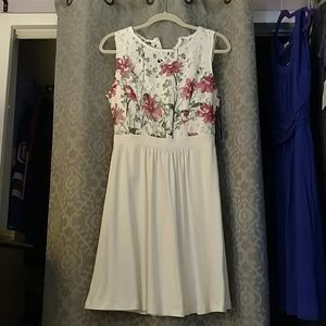 NWT NY&Co white and flowered tank dress