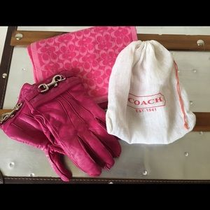 b6ea15d33 Women Coach Pink Leather Gloves on Poshmark