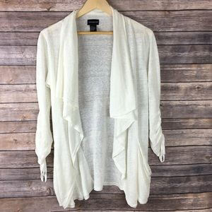 Central Park West Sweaters - Central Park West Open Waterfall Linen Cardigan