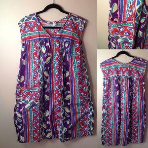 VINTAGE 1980's Artist Smock Dress! With Pocket