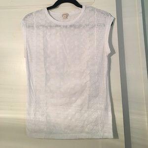 J. Crew Tops - J. Crew White Eyelet Tshirt Blouse Size XS