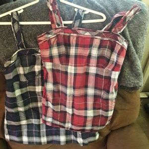 American eagle outfitters plaid tank tops